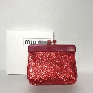 Miu Miu clutch red small glitter wallet new